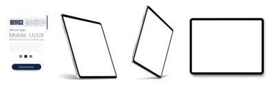 Fototapeta Tablet frame less blank screen, rotated position. Tablet from different angles. Mockup generic device set. . UI/UX Template for infographics or presentation 3D realistic graphics tablet.