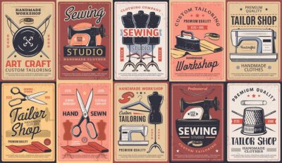 Fototapeta Tailor shop, dressmaking atelier and sewing workshop, vector retro posters. Dressmaker seamstress salon, custom tailoring art craft and clothing repair and alternation, premium handmade sewing service