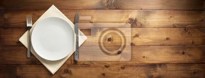 Fototapeta talerz, nóż i widelec na serwetce