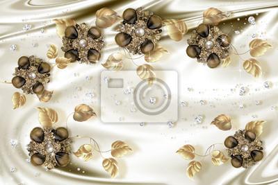 Fototapeta Tapeta 3D, biżuteria złota biżuteria na jedwabnym tle. Świętowanie 3d tło