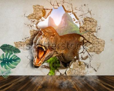 Fototapeta Tapeta na ściany. Dinozaur przeraża szparą w ścianie pokoju. Renderowanie 3d.