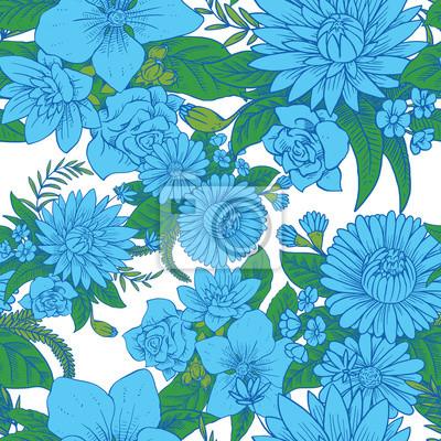 b763f006c8e46e Fototapeta Akwarela wzór niebieskie kwiaty i zielone liście na ...