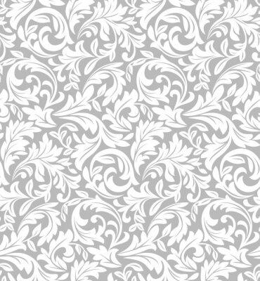 Fototapeta Tapeta w stylu barokowym. Szara i biała tekstura. Kwiatowy ornament. Wektor graficzny wzór