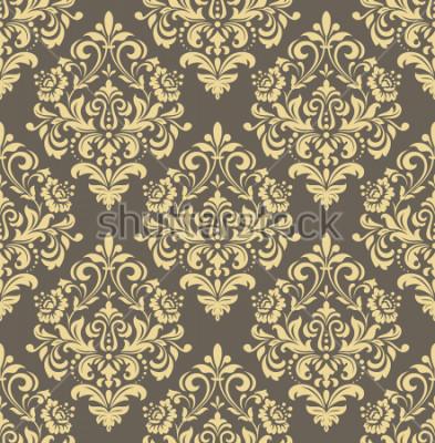 Fototapeta Tapeta w stylu baroku. Bezszwowe tło. Złoty i szary ornament kwiatowy. Wzór graficzny na tkaninę, tapetę, opakowanie. Ozdobny ornament kwiat adamaszku