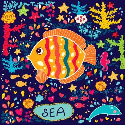 Fototapeta Tapety wektorowe z ryb i życia morskiego