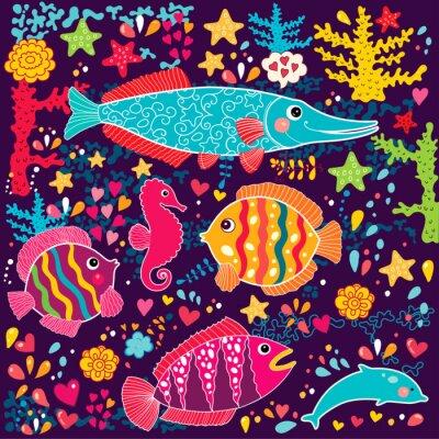 Tapety wektorowe z ryb i życia morskiego
