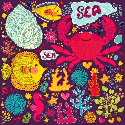 Fototapeta Tapety wektorowe z ryb, kraba zabawy i życia morskiego