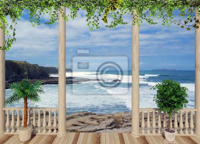 Fototapeta Taras z widokiem na ocean, w Portugalii