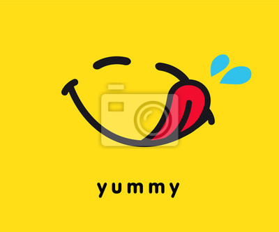 Fototapeta Tasty smile icon template design. Smiling yummy emoticon vector logo on yellow background. Hungry emoji in line art style illustration. World Smile Day, October 4th banner