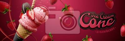 Fototapeta Tasty strawberry ice cream cone ads