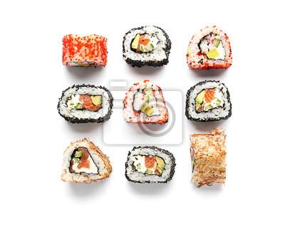 Fototapeta Tasty sushi rolls on white background