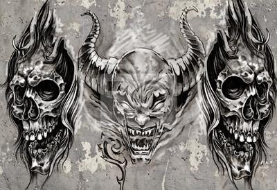 Tatuaż Sztuki 3 Demony Nad Szarym Tłem Szkic Fototapety Redro