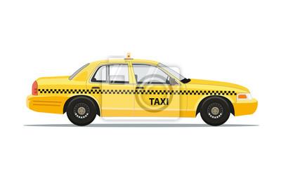 Fototapeta Taxi Żółta Samochodowa taksówka Odizolowywająca na białym tle. Ilustracja wektorowa.