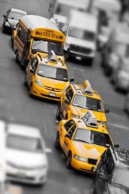 Fototapeta Taxis et school bus à Manhattan - New York USA