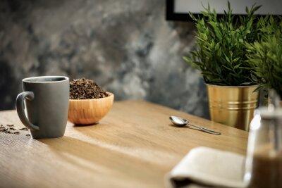 Tea on the table on a sunny warm day
