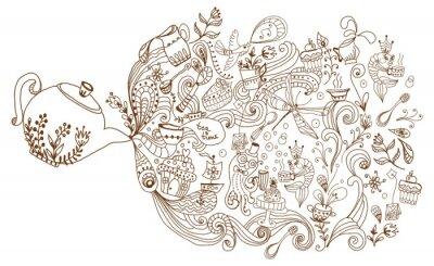 Fototapeta tea time tło, ilustracja doodle