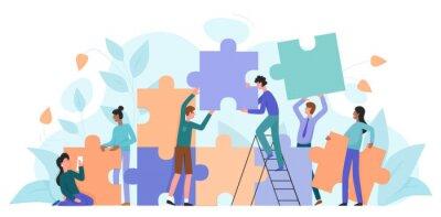 Fototapeta Teamwork, startup character flat vector illustration business concept with giant puzzle. Teamwork partnership metaphor. Team building training, project management, group motivation, brainstorming