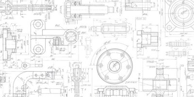 Fototapeta Technical drawing background .Mechanical Engineering drawing.