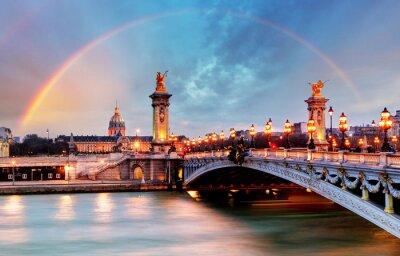 Fototapeta Tęcza nad Alexandre III Bridge, Paryż, Francja