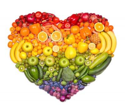 Fototapeta Tęcza serca z owoców i warzyw