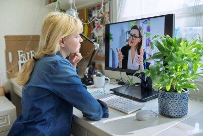 Fototapeta Teen girl talking online with psychologist, social worker