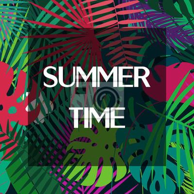 Tekst czasu letniego na kolorowe liści palmowych. Wzór projektu wektorowe.