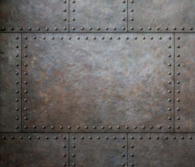 Fototapeta tekstury metalu z nity jako tło lub tekstury punk pary