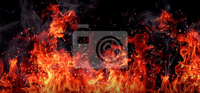 Fototapeta Tekstury ognia na czarnym tle.