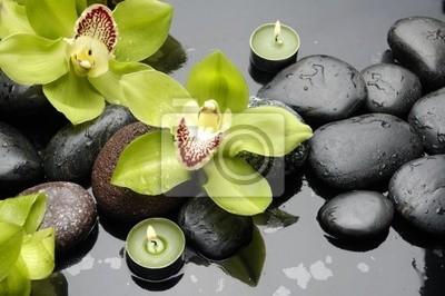 terapii kamienie i kwiat orchidei z kropli wody