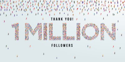 Fototapeta Thank you 1 million or one million followers design concept made of people crowd vector illustration.