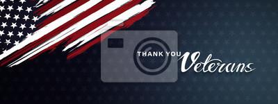 Fototapeta Thank you veterans, November 11, honoring all who served, posters, modern brush design vector illustration