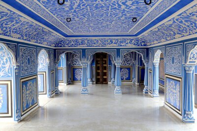 Fototapeta The Blue Palace in Chandra Mahal are beautifully adorned with blue and white coloured rooms in city palace jaipur, rajasthan, india April 2018. This room was used to enjoy the monsoon rain.