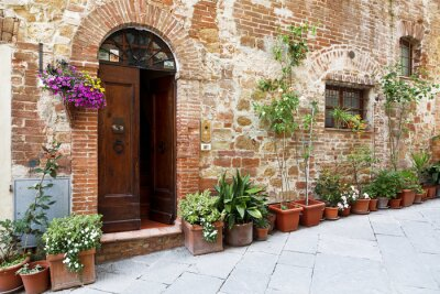 Fototapeta The cobbled streets of the beautifully decorated walls with colorful flowers, Tuscany, Italy
