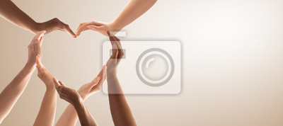 Fototapeta The concept of unity, cooperation, teamwork and charity.