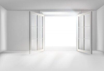 Fototapeta The hall with open door. Vector illustration.