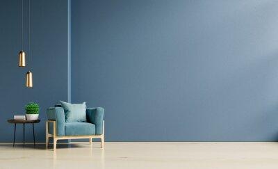 Fototapeta The interior has a armchair on empty dark blue wall background.