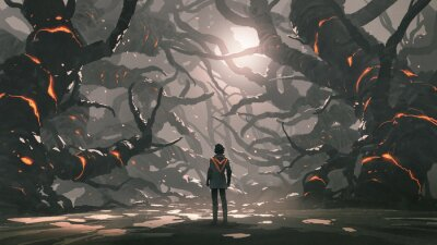 Fototapeta The man standing in a road full of evil trees, digital art style, illustration painting