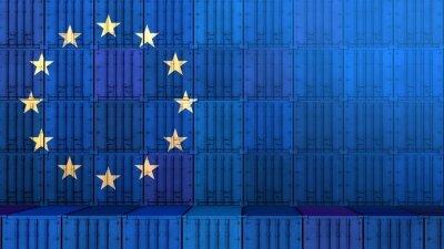 Fototapeta The restart of european economy. Import export business. Stacked cargo containers. Flag of EU. Coronavirus crisis. 3D rendering