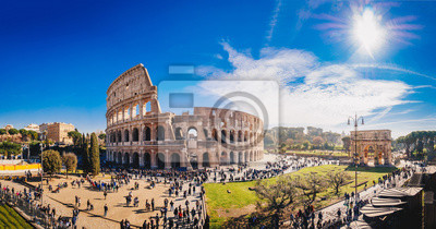 Fototapeta The Roman Colosseum (Coloseum) in Rome, Italy wide panoramic view