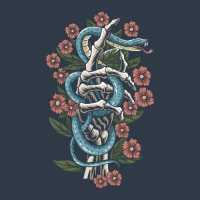 Fototapeta The snake is on the hand bones of the skull between the flowers, editable layers vector