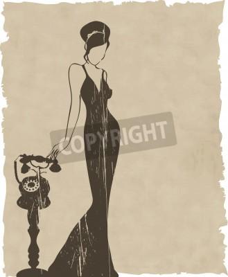 Fototapeta the vintage retro woman silhouette background illustration