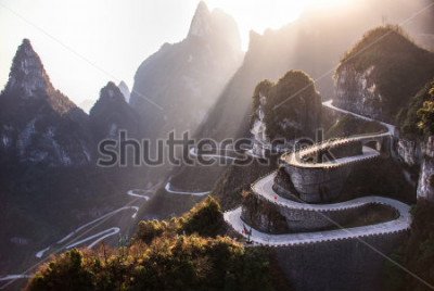 Fototapeta The winding road of Tianmen mountain national park, Hunan province, China