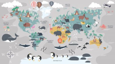 Fototapeta The world map with cartoon animals for kids, nature, discovery and continent name, ocean name, countries name. vector Illustration.