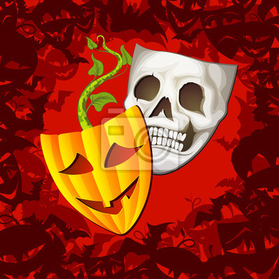 Theatrical Halloween Mask i Fashioned Background