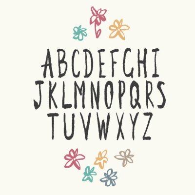 Fototapeta Thin Alphabet Hand-drawn.