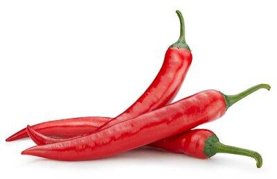 Fototapeta Three chili hot pepper clipping path. Chili pepper isolated on a white background. Fresh pepper