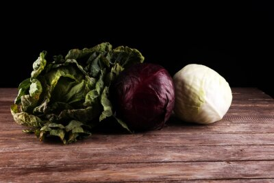 Three fresh organic cabbage heads. Antioxidant balanced diet eating with fresh red cabbage, white cabbage and savoy