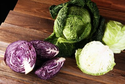 Three fresh organic cabbage heads. Antioxidant balanced diet eating with red cabbage, white cabbage and savoy