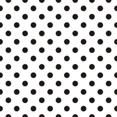 Fototapeta Tile vector pattern with black polka dots on white background