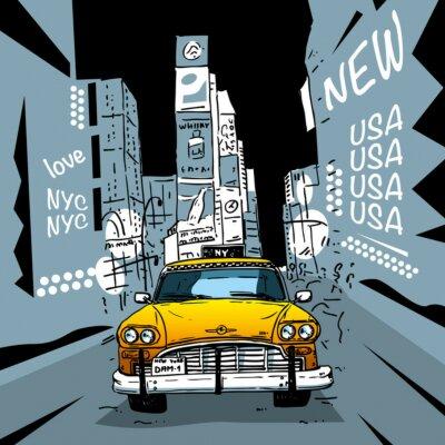 Fototapeta Time Square New York City Taxi
